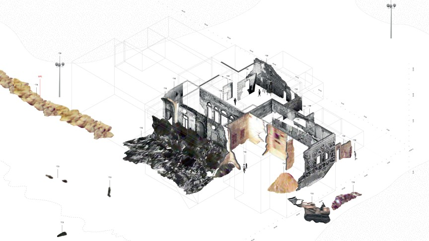 Forensis | Gabriel Cuéllar / DAAR, RUINS UNDER CONSTRUCTION | The ruins of three houses, reconstructed with fragments from historical photographs | Visualization: Gabriel Cuéllar