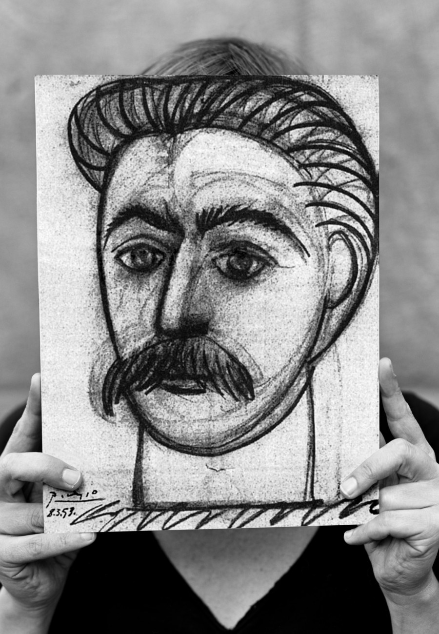 Lene Berg, Stalin by Picasso or Portrait of Woman with Moustache, facade-banner, 2008 | Courtesy the artist