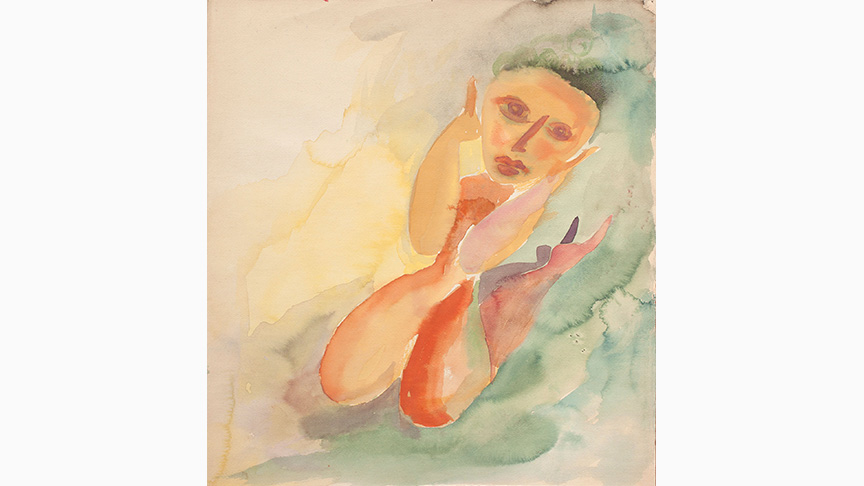 Catherine Yarrow, Crouching Female, 1935, Watercolor, 35.2 x 32.5 cm | Estate of Catherine Yarrow/Austin Desmond Fine Art, London