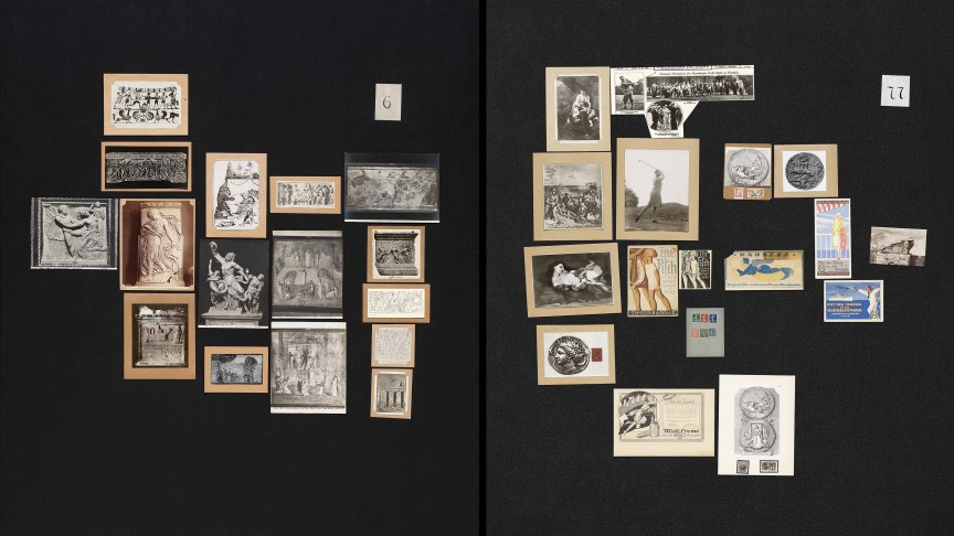Aby Warburg, Bilderatlas Mnemosyne, panels 6 & 77 (recovered) | Photo: Wootton / fluid; Courtesy The Warburg Institute