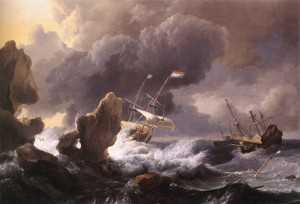 Ludolf Bakhuizen | Ships in Distress off a Rocky Coast